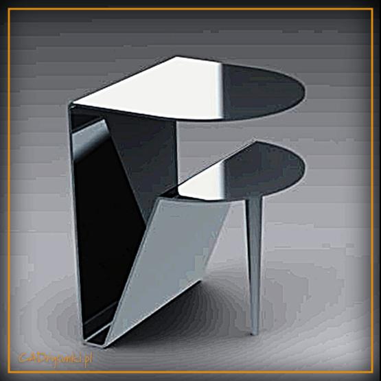 Stolik za kanapą wykonany z grubej blachy stalowej
