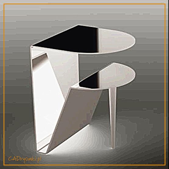 Biurko z półką na klawiaturę wsparte na jednej nodze i korpusie.