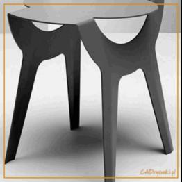 Stół kuchenny z nogami stalowymi wycinanymi laserowo.