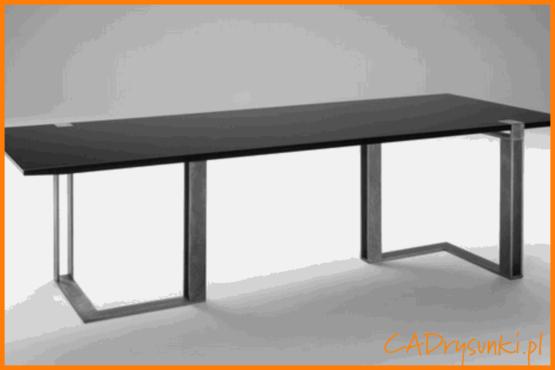 BArdzo szerokie biurko z drewnianym blatem i metalowymi nogami.