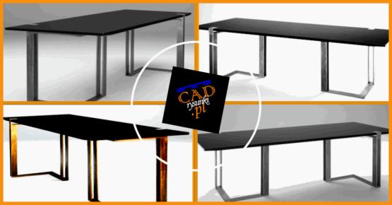 Duże biurko ze stalowymi nogami.
