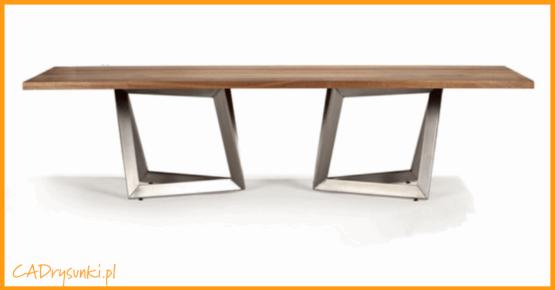 Duży stół do pokoju gościnnego wykonany z drewna i metalu.