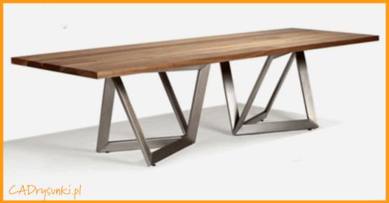 Stół z dwoma nogami w kształcie ram okiennych.