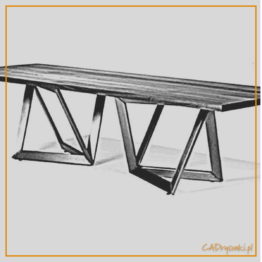 Nowoczesny stół obiadowy loftowy z nogami wykonanymi z podwójnych ram.