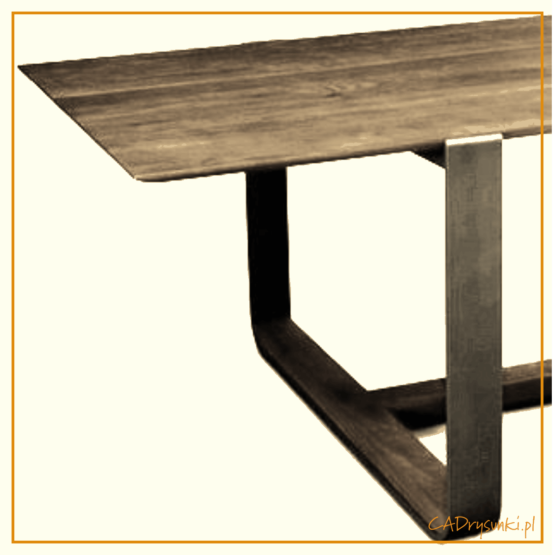 Biurko komputerowe w którym są trzy gięte stalowe nogi połączone i wykończone naturalnym drewnem