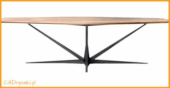 Stabilne podparcie blatu stołu za pomocą czterech nóg pod kątem do podstawy.