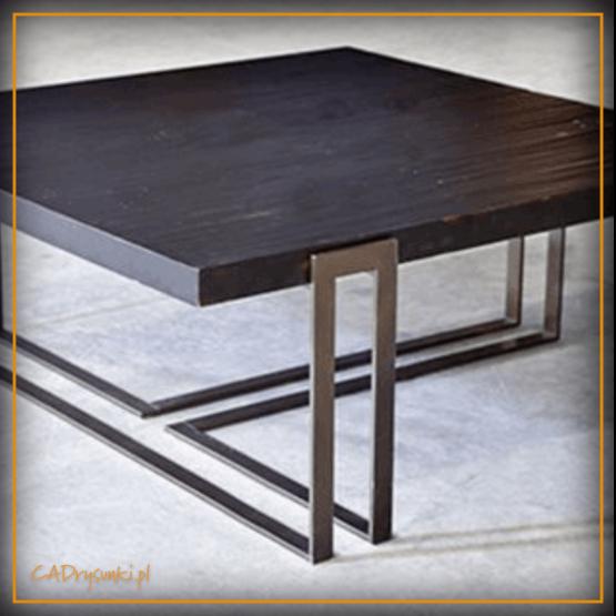 Stół kwadratowy loftowy na zamówienie z nogami z podwójnych stalowych rurek.