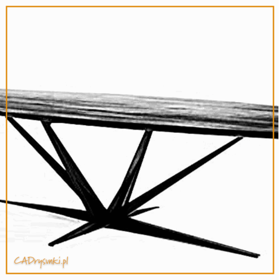 Stół na jednej nietypowej nodze rozgałęziającej się promieniowo od podstawy.