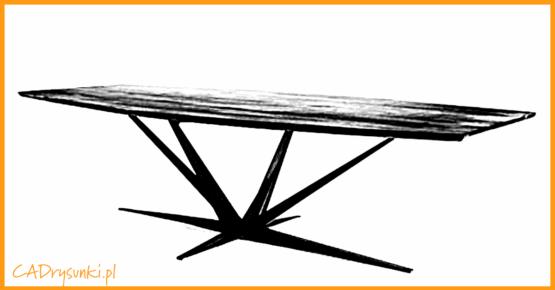 Stół w kolorze szarym i nogami w kolorze czarnym