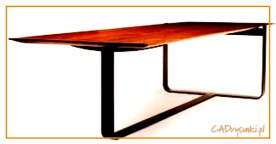 Biurko w którym są zastosowane nogi typu płozy wykończone drewniamymi nakładkami.