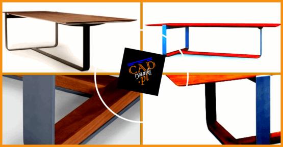 Biurka i stoły industrialne z metalowymi połączonymi ze sobą nogami.