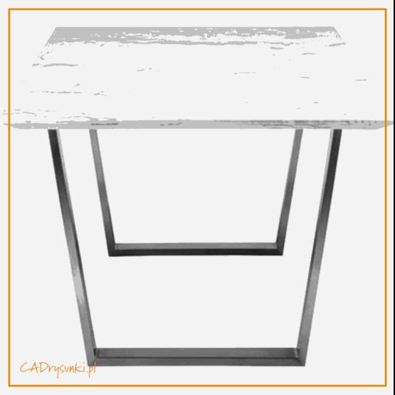 Duży stół do jadalni z marmurkowym blatem i szerokimi stalowymi nogami.