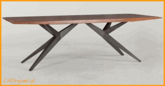 Konstrukcja kratowa nóg stołu z dodatkowym wzmocnieniem blatu.