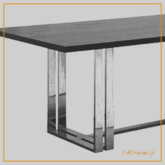 Biurko o podwójnych chromowanych nogach połączonych łączyną przy podłodze