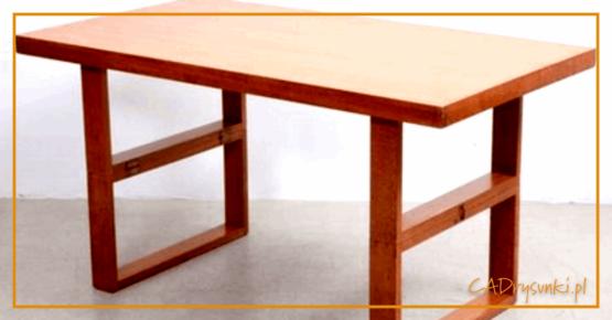 Prosty drewniany stół wykonany z litego drewna