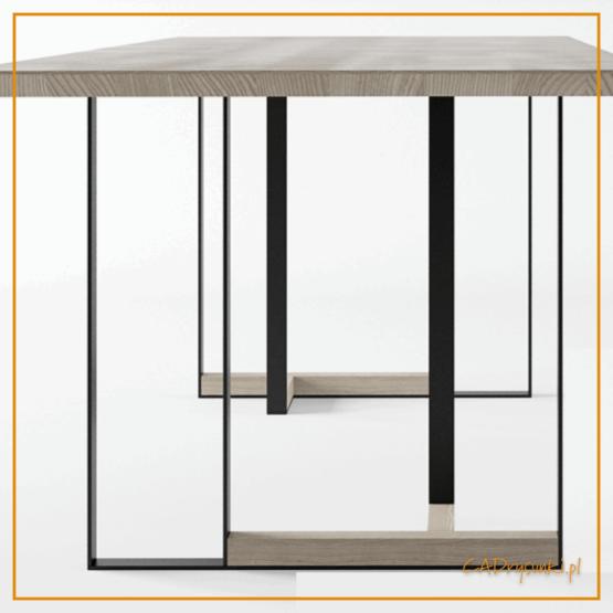 Nogi metalowo drewniane stołu w stylu industrialnym.
