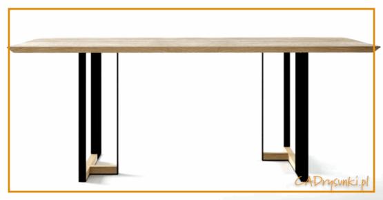 Stół z podparciem nogi z jednej strony.