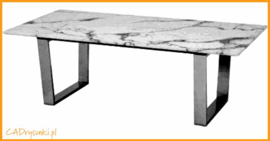 Stół do salonu z nogami szzarymi chromowanymi i jedną łączyną wzdłużną.