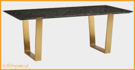 Stół z ciemnym blatem drewnianym i metalowymi nogami z łączyną poprzeczną.