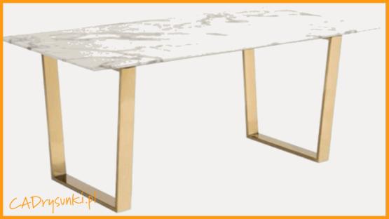 Stół z nogami złotymi chromowanymi ze stali zwykłej lub szczotkowanej.