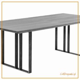 Stół na wzmocnionych płozach czyli nogach wykonanych z płaskiwników metalowych.