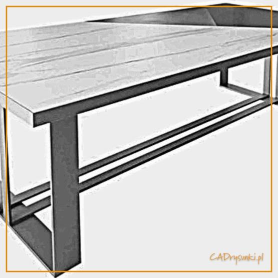 Biurko loft easy desk z podnóżkiem stalowym.