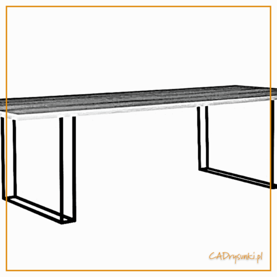 Stół na cienkich podwójnych nogach wykonanych z metalowych prętów