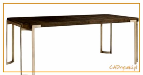 Ciemny brązowy stół z blatem wykonanym z drewna .