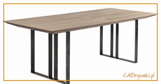 Stół z bocznymi nogami z metalowych płaskowników.