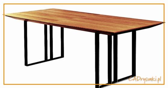 Stół na nogach płozach wykonanych z drewna lub metalu.