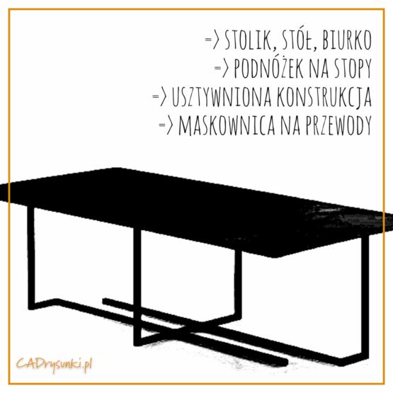 Stół ze stali corten i metalowymi nogami