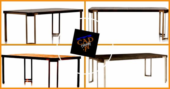 Stół do jadalni z metalowmi nogami i drewnianym blatem.