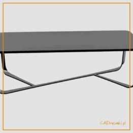 Niski prostokątny betonowy stolik z nogami wykonanymi ze stali.