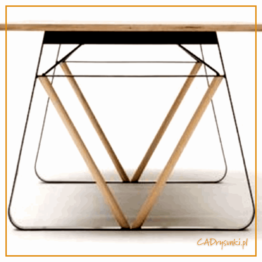 Biurko w którym są nogi z drewna i metalu po dwóch stronach mebla.