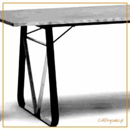 Przestronne kobiece biurko z nogami ze stali i drewna
