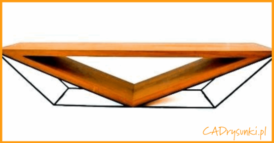 Stolik na indywidualne zamówienie z naturalnego drewna i metalu.