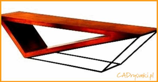 Mały stolik loftowy w kształcie równologłoboku.