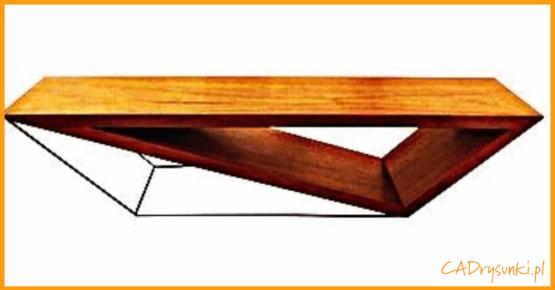 Stolik ze skośnymi nogami metalowymi w kształcie figóry geometrycznej równoległobok.