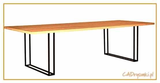 Stół z czarnymi nogami z metalowych prętów