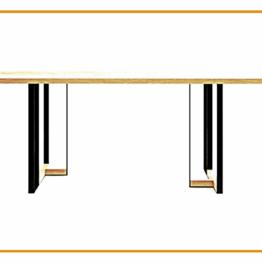 Biurko typu loft przypominające stół do salonu z nogami metalowymi.