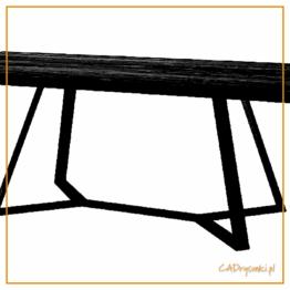 Biurko industrial z podnóżkiem metalowym tworzą zwartą konstrukcję.